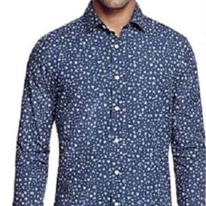 New BLOOMINGDALE'S $98 Blue Floral Slim Fit Shirt